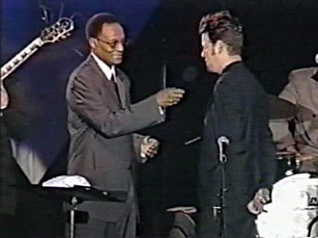 "Ron being interviewed by jazz legend Ramsey Lewis for ""Jazz Central"" concert taping (May 1999); Credit: BET Television"