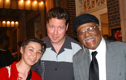 Tomo Tanaka, Ron Sunshine, and jazz legend Clark Terry outside of Town Hall in NYC (May 2002); Credit: Michael Case Kissel