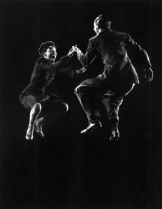 Leon James & Willa Mae Ricker demonstrating a step of The Lindy Hop.